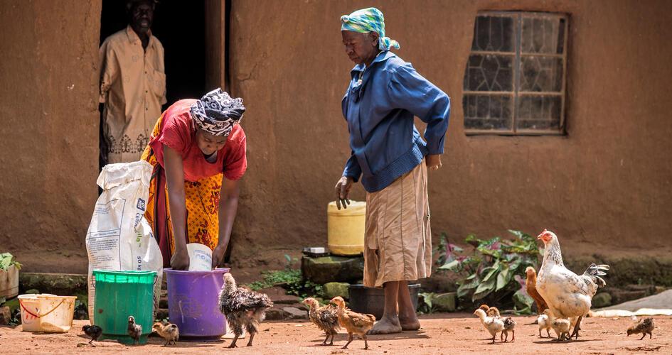 Anastancia Kulundu transferring fertilizer into a bucket