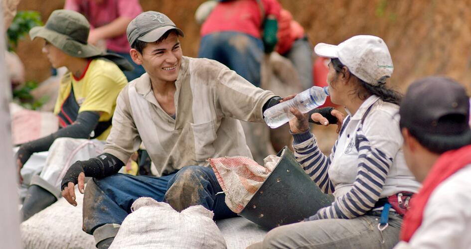 Coffee farmers in Colombia having a break