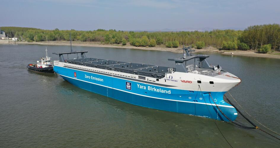 Yara Birkeland vessel launched to sea
