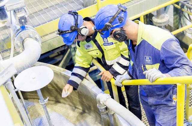 Two workers at Siilinjärvi plant